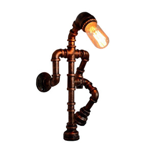Industrial Pipe Robot Wall Light With Personality