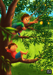 Tree climbing partners - Art Print