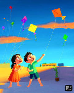 Kite flying - Art Print