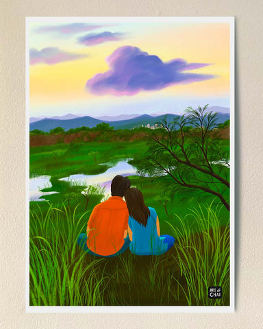 Couple on a hill - Art Print