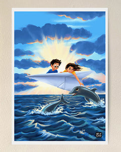 Handshake with dolphins - Art Print