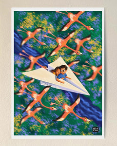 Flying among Flamingos - Art Print