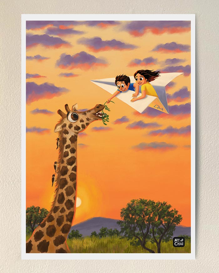 Treating the Giraffe - Art Print