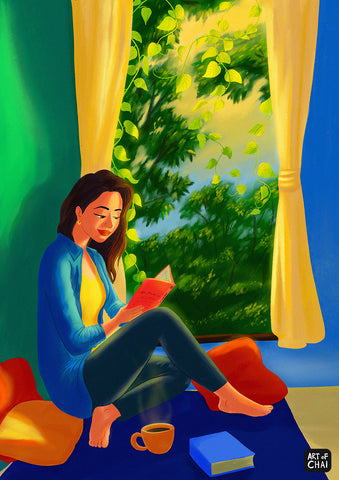 Reading by the window - Art Print