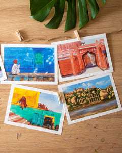 Colorful Streets of India Postcard Set