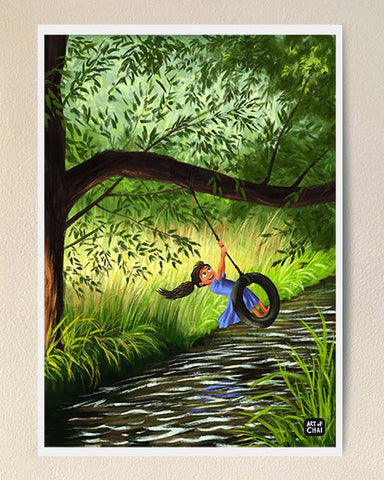 Swinging over a stream - Art Print