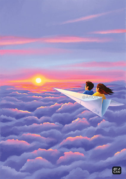 Sunset above clouds - Art Print