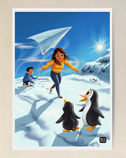 Meeting little penguins - Art Print