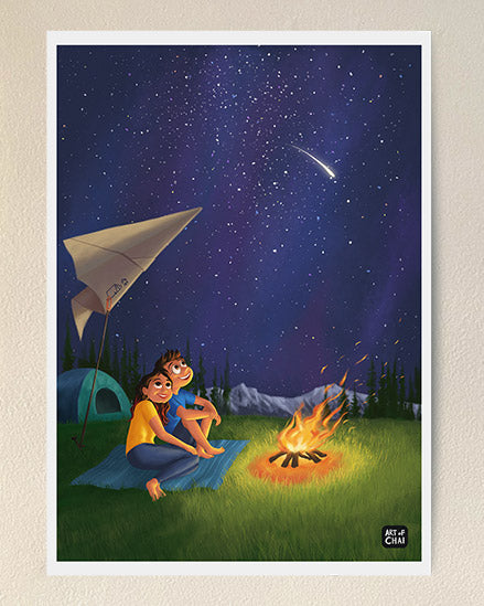 Camping under the stars - Art Print
