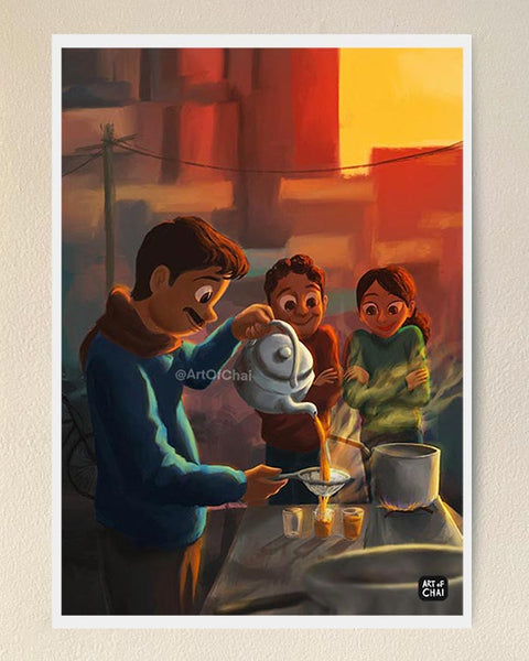 The morning chai - Art Print