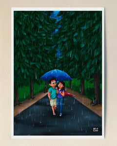 That walk in the rain - Art Print