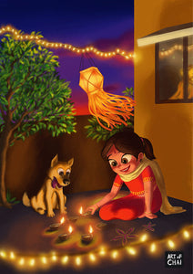 Diwali with Pup - Art Print