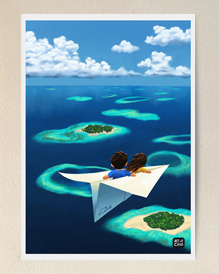 Flying over Maldives - Art Print