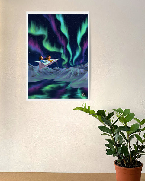 Visiting Northern lights - Art Print