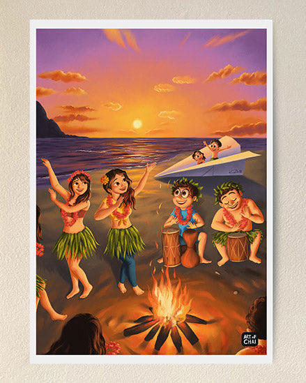 Bonfire at the beach - Art Print