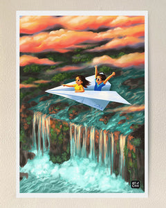 The breathtaking waterfall - Art Print