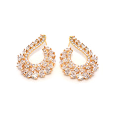 CZ American Diamond Gold Color Designer Earring
