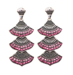 ETHNIC PINK CZ SILVER COLOUR DESIGNER CZ JEWELLERY EARRINGS