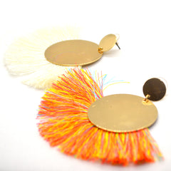 Colourful Tassels fan earrings