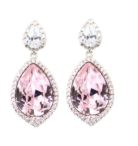 PINK AND DIAMOND SWAROVSKI CRYSTALS CZ STUDDED DESIGNER FASHION EARRINGS