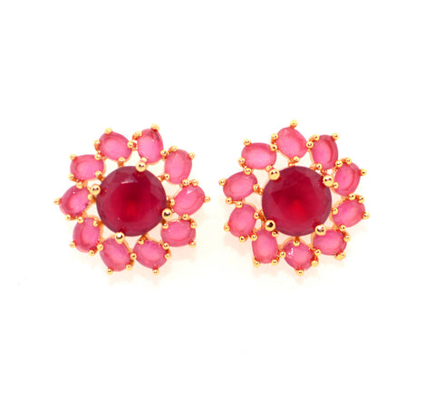 Red colour Ruby Simulant Stud earrings at FlipJewels