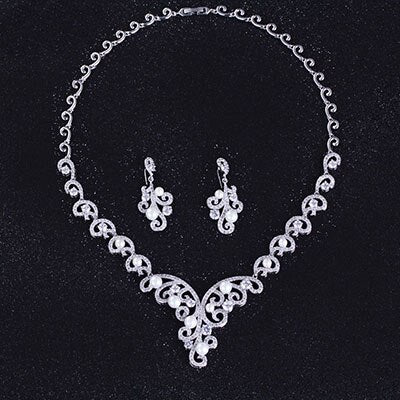Pearl and Diamond CZ Classic Designer Necklace Jewelry Set - FlipJewels