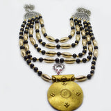 Ethnic fusion multirow 1 gm gold type necklace for women - FlipJewels