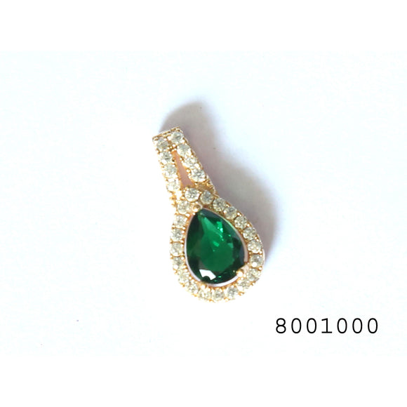 Green and Diamond CZ Yellow Gold Colour Designer Pendant - FlipJewels