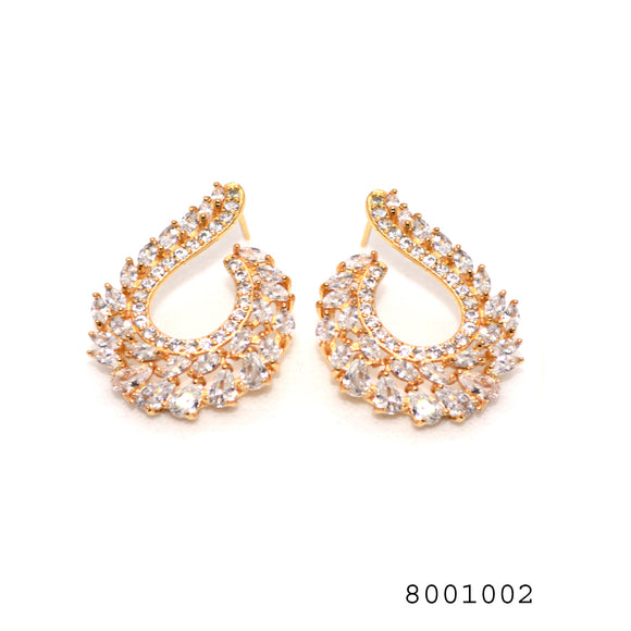 Bollywood Inspired Diamond CZ Studded Designer Fashion CZ Earrings - FlipJewels