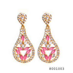 Diamond CZ and Ruby CZ Studded Designer Fashion CZ Earring - FlipJewels