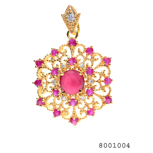 Diamond CZ and Ruby CZ Designer Fashion Pendant - FlipJewels