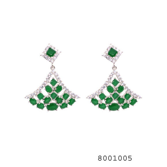Diamond CZ and Emerald CZ Fashion Designer CZ Earring - FlipJewels