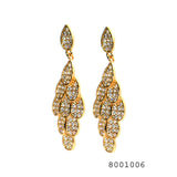 Diamond CZ Designer Peacock Feather inspired Designer Fashion CZ Earrings - FlipJewels