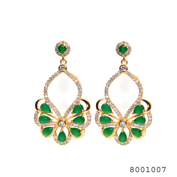 Diamond and Emerald CZ Studded Fashion Designer Partywear CZ Earring for Women - FlipJewels