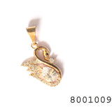 Diamond CZ Yellow Gold colour Designer Swan Pendant - FlipJewels