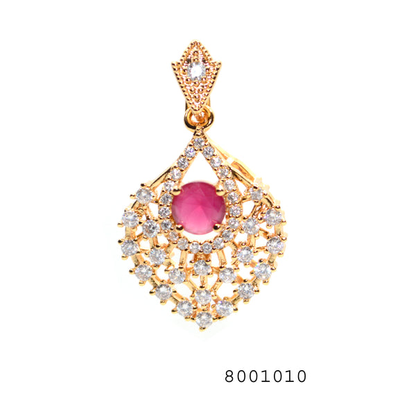 Diamond CZ and Ruby CZ Designer Fashion Ethnic Pendant - FlipJewels
