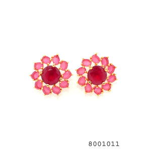 Ruby Colour CZ Studded Designer Fashion CZ Jewellery Earring - FlipJewels