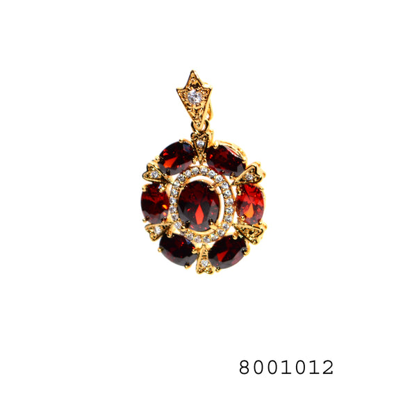 Red and Diamond CZ Gold Colour Designer CZ Jewellery Pendant - FlipJewels