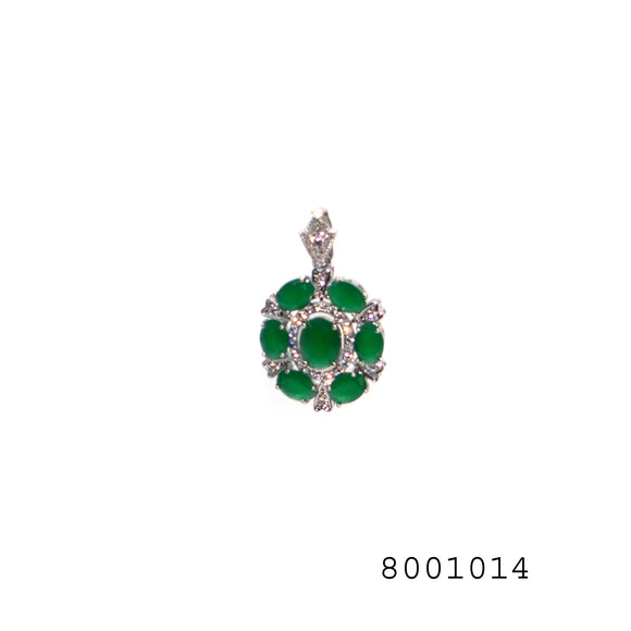 Emerald and Diamond CZ studded Silver color Designer Fashion Pendant without chain - FlipJewels