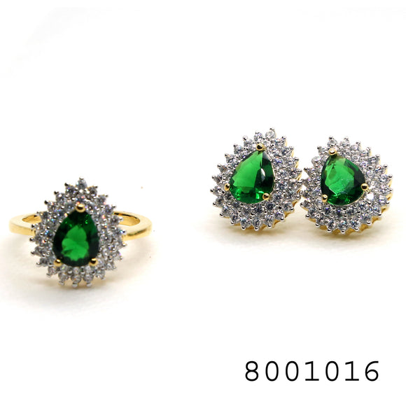 Emerald CZ and Diamond CZ Classic halo Ring and Earring Designer set - FlipJewels