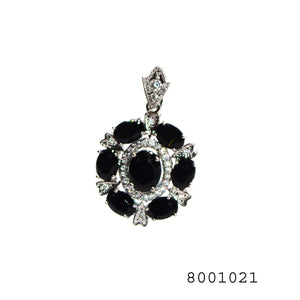 Sim. Black Sapp. and Sim. Diamond Silver Gold Bond Brass Fashion Halo Pendant - FlipJewels