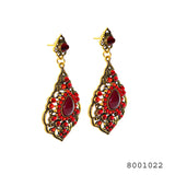 Red color ethnic designer Dangling Bali Earrings - FlipJewels