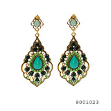 Big Green Colour Ethnic Jhumka Festival designer Earrings - FlipJewels