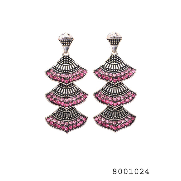 Ethnic Pink CZ Silver Colour Designer CZ Jewellery Earrings - FlipJewels