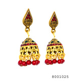 Ethnic Red Gem and Yellow Gold Colour Jhumki Earrings - FlipJewels