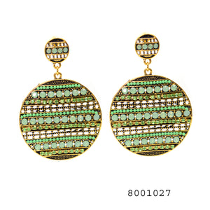 Green Gems and CZ Ethnic Fashion Designer Ethnic Earring - FlipJewels