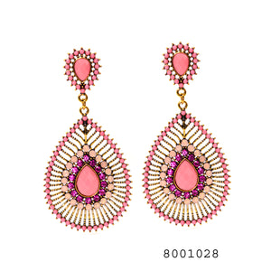 Pink Stones Studded big ethnic Earring - FlipJewels
