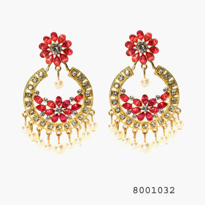 Ethnic Gem Studded Chand bali Dangling Designer Earrings - FlipJewels