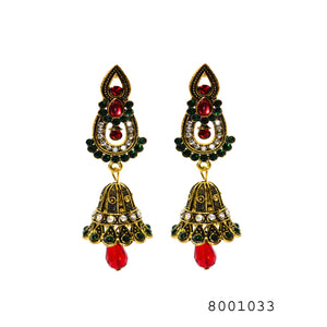 Ethnic Red Gem and Yellow Gold Colour Heavy Jhumki Earrings - FlipJewels