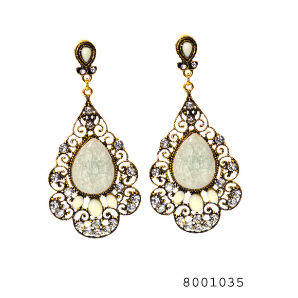 Ethnic White Color Gem studded Designer large size Fashion Designer Earrings - FlipJewels